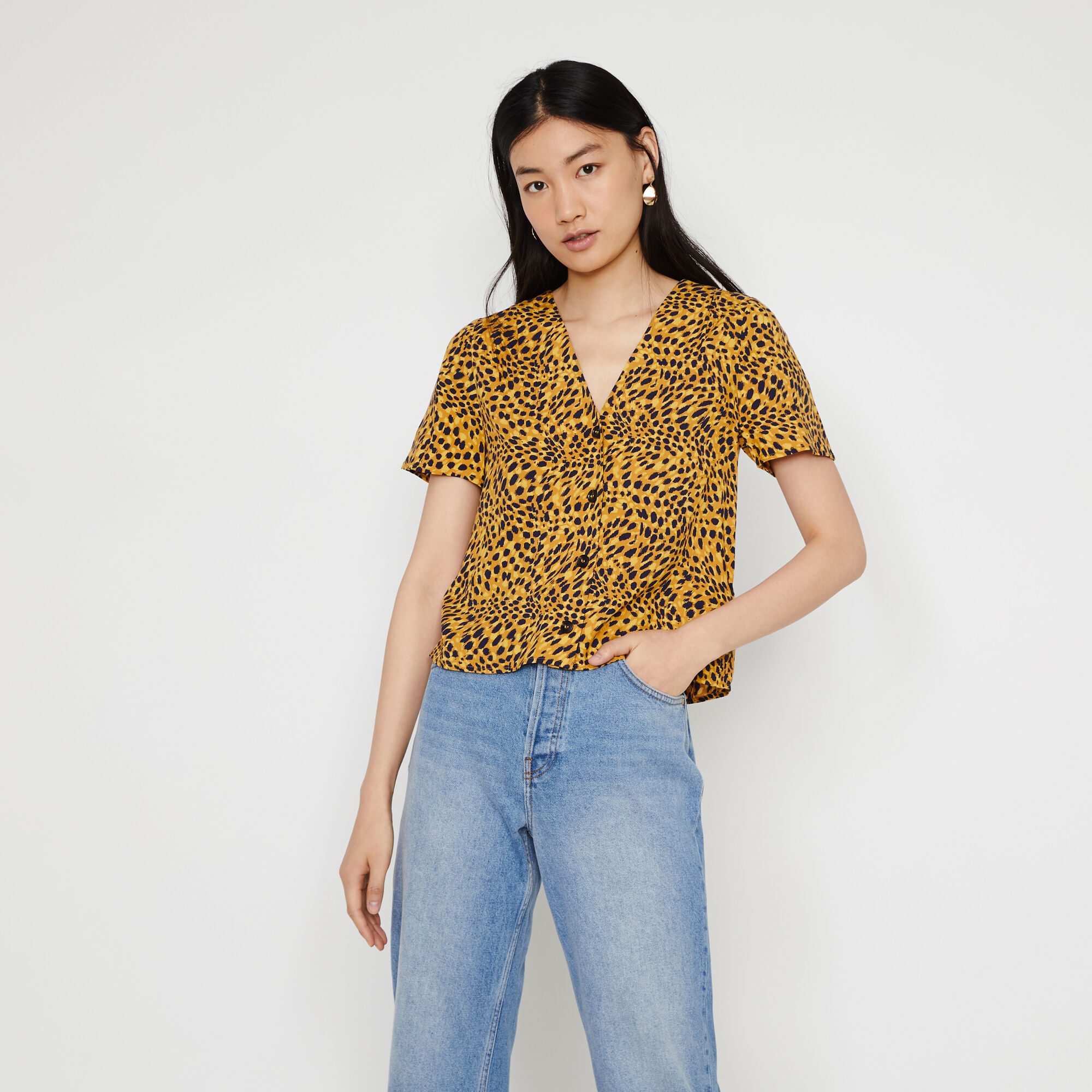 Warehouse, ANIMAL PRINT BUTTON FRONT TOP Yellow Print 1