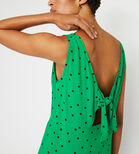 Warehouse, POLKA DOT TIE BACK MINI DRESS Green Print 4