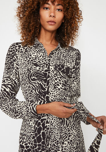 Warehouse, MIXED ANIMAL MIDI SHIRT DRESS Black Pattern 2