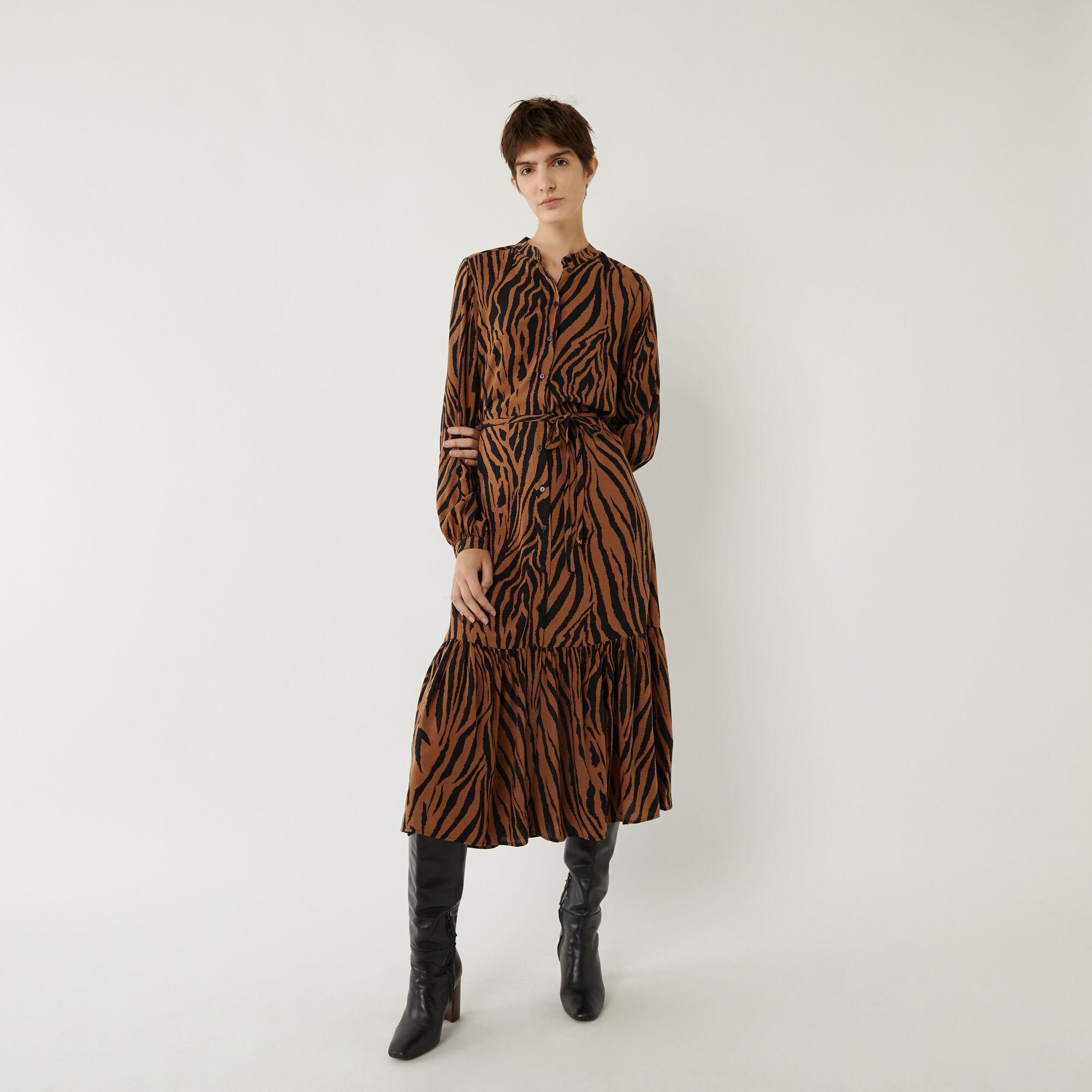 Warehouse, TIGER TIERED MIDI SHIRT DRESS Brown Print 1