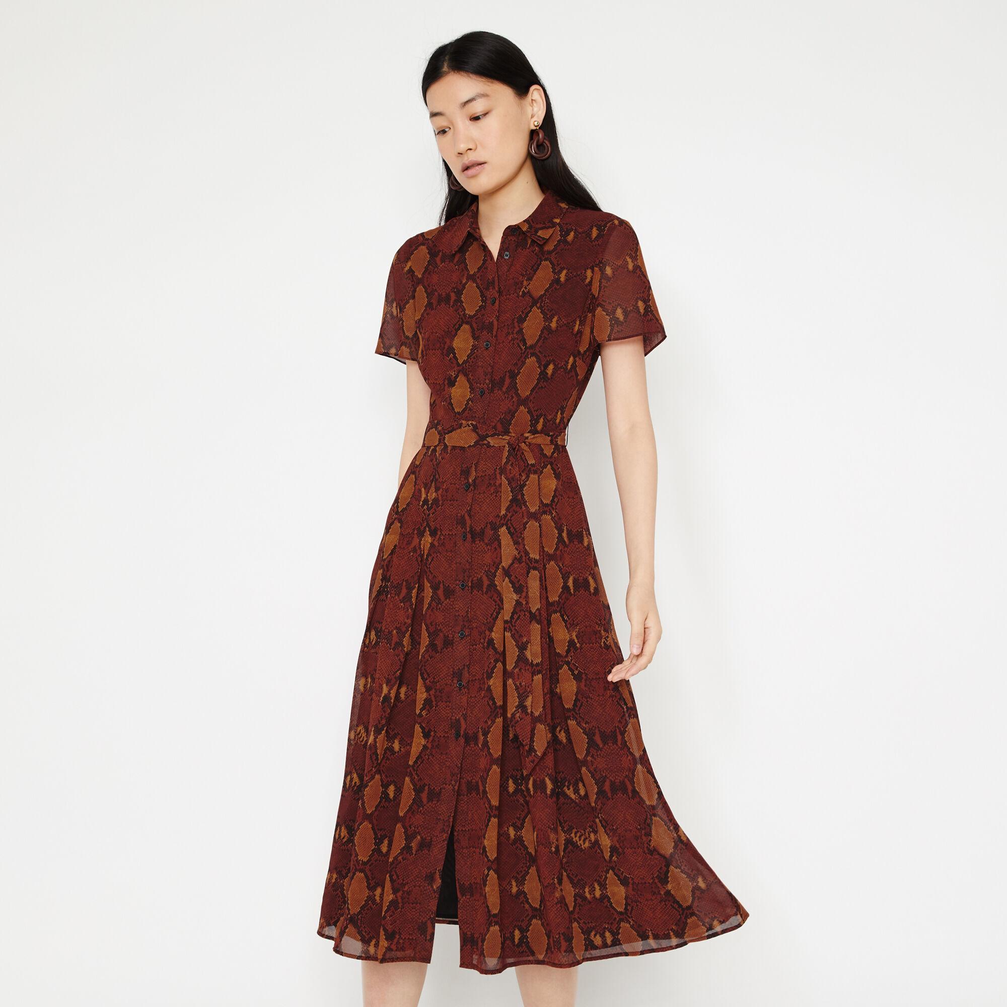Warehouse, SNAKE PRINT MIDI SHIRT DRESS Orange 1