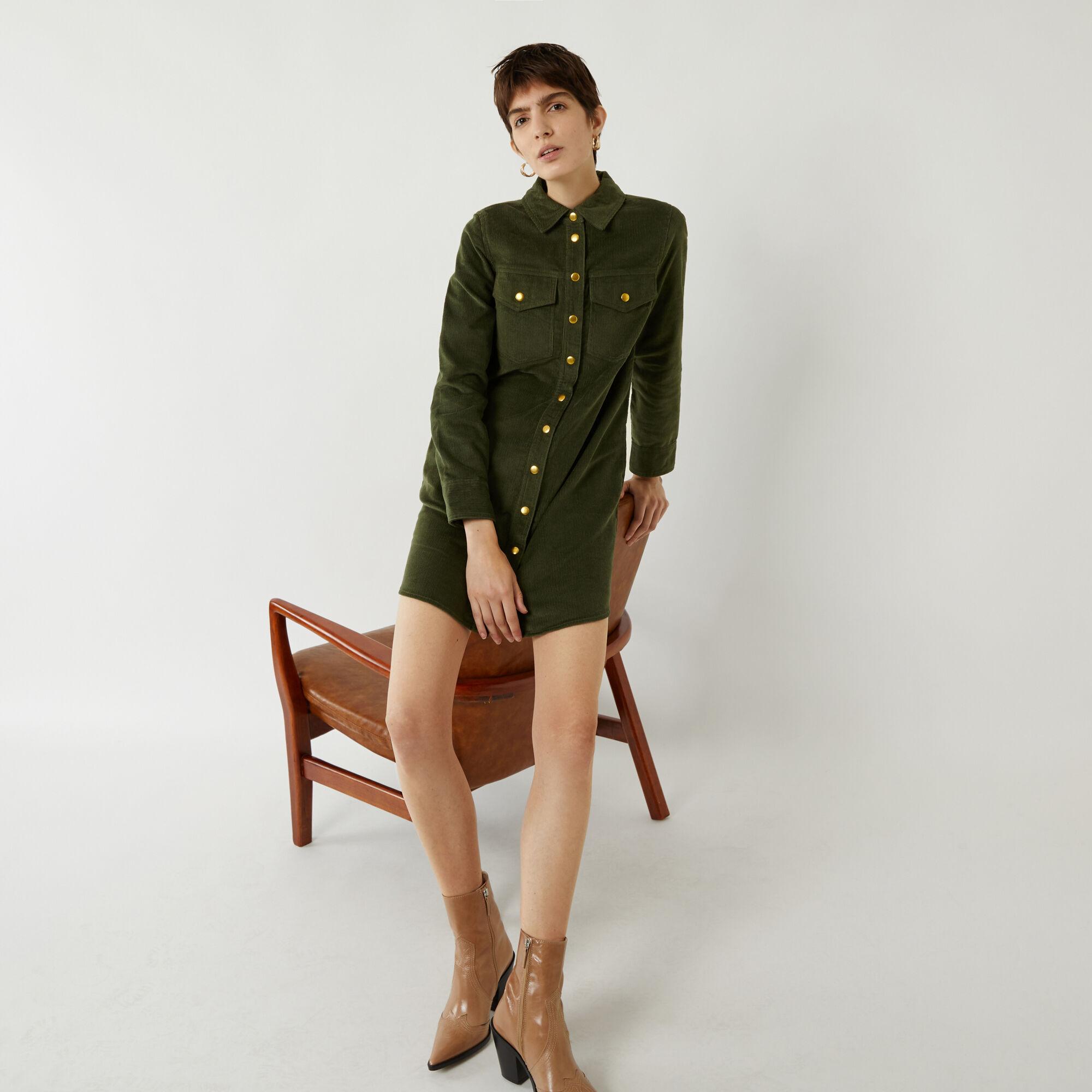 Warehouse, CORD MINI SHIRT DRESS Light Green 1