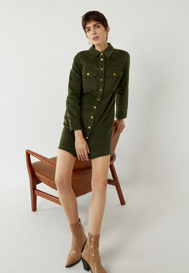 Warehouse, CORD MINI SHIRT DRESS Light Green 1