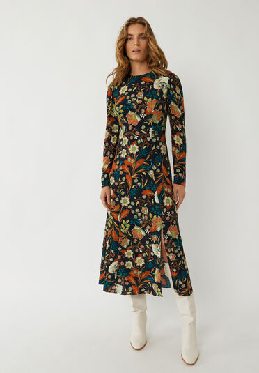 Warehouse, VINE FLORAL MIDI DRESS Black Pattern 2