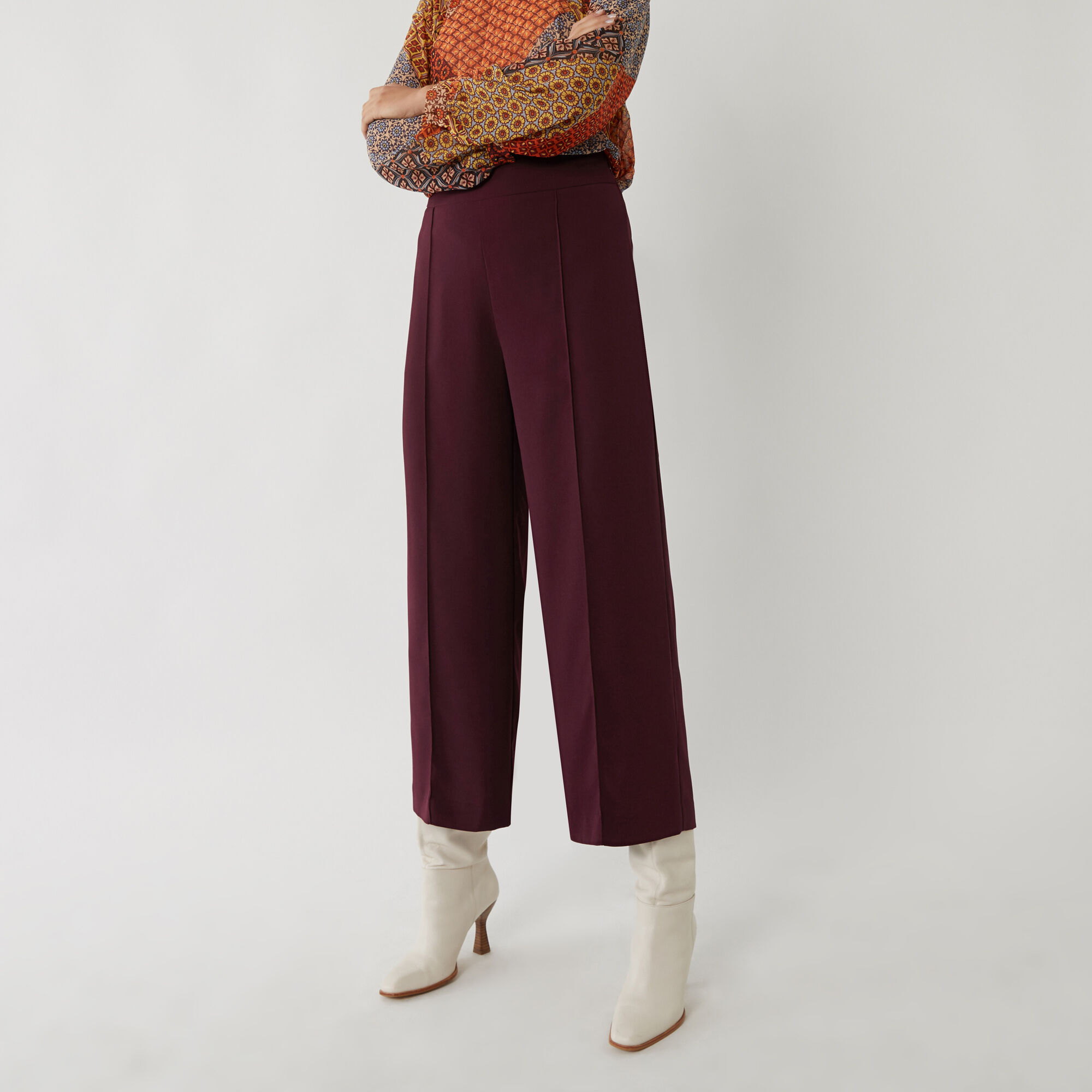 Warehouse, WIDE CROP TROUSER Berry 1