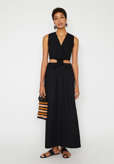 Warehouse, LINEN MIX CUT OUT MAXI DRESS Black 2