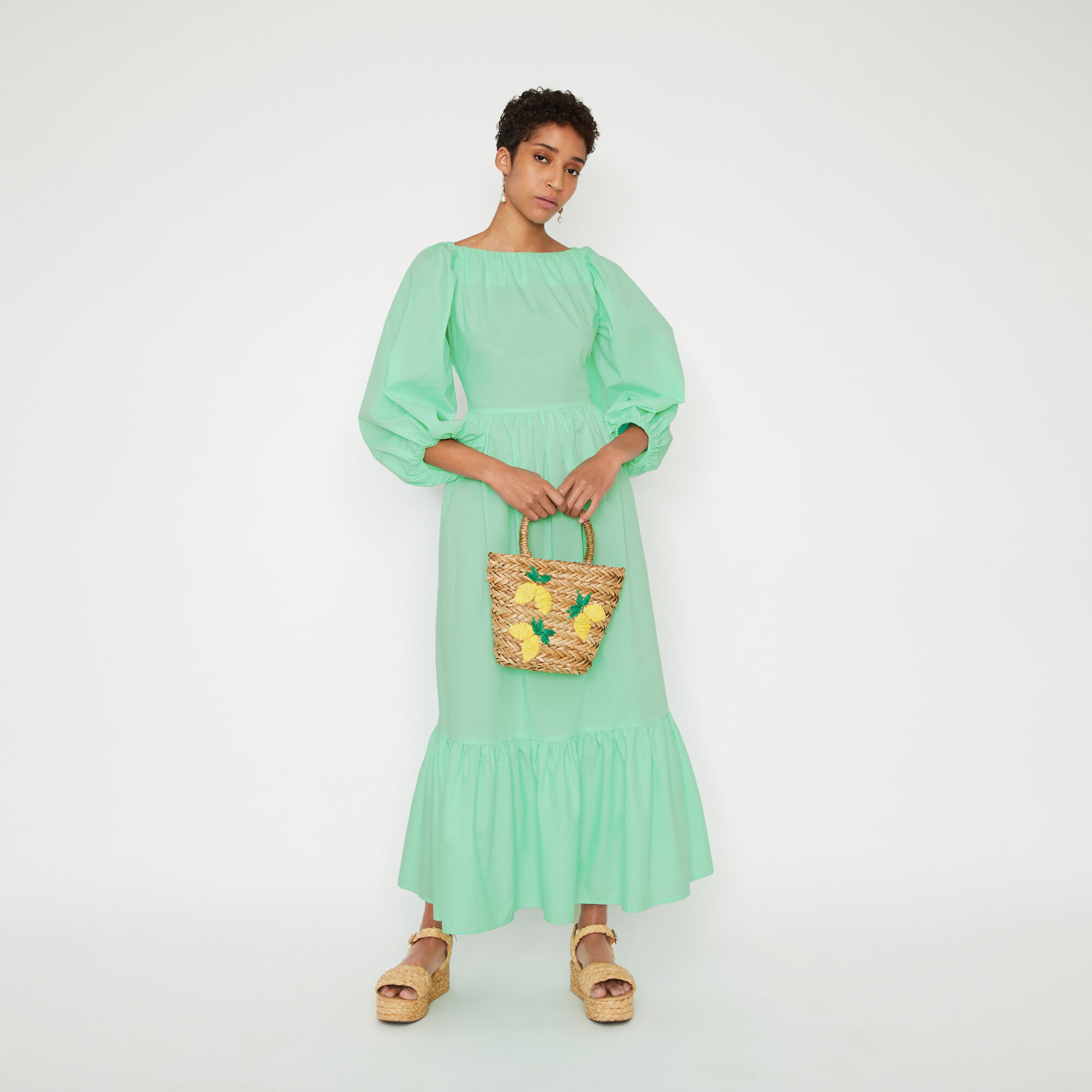 Warehouse, PUFF SLEEVE MAXI DRESS Light Green 1