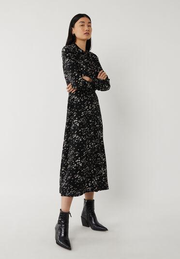 Warehouse, DAISY PRINT MIDI SHIRT DRESS Black Pattern 1