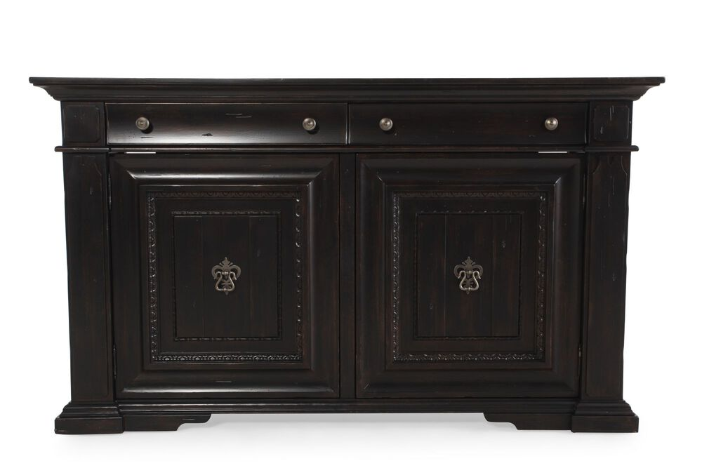 Two Door 72 Sideboard In Distressed Macchiato Mathis Brothers Furniture