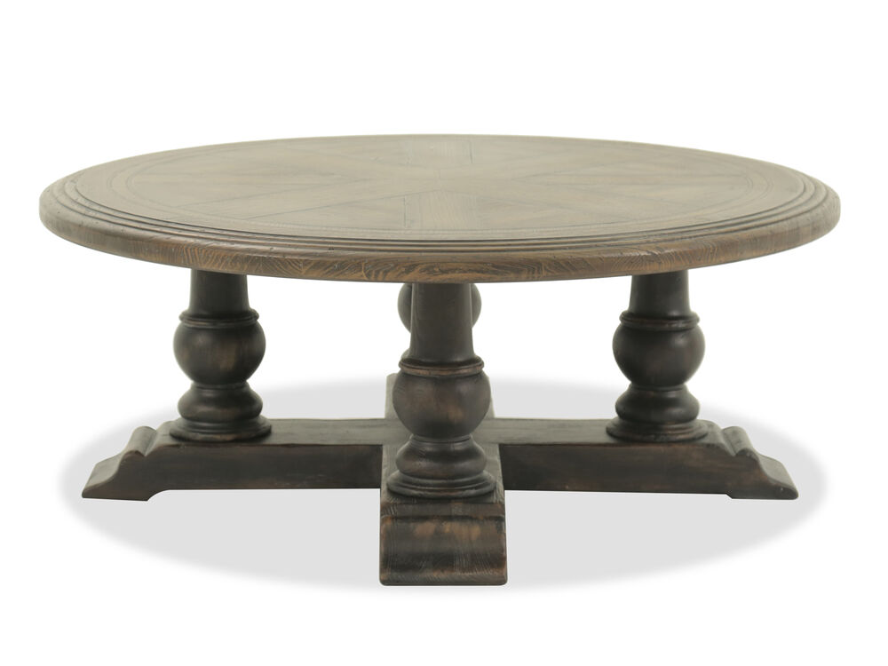 Navy And Gold Dining Room, Round Traditional Cocktail Table In Dark Brown Mathis Brothers Furniture