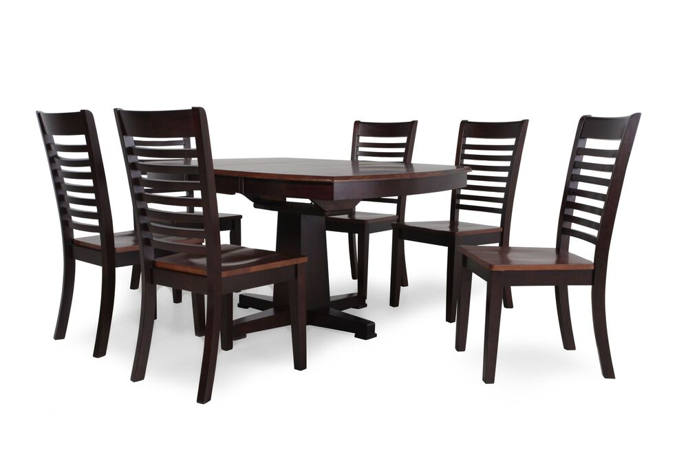 Navy And Gold Dining Room, Seven Piece Casual Dining Set In Espresso Mathis Brothers Furniture