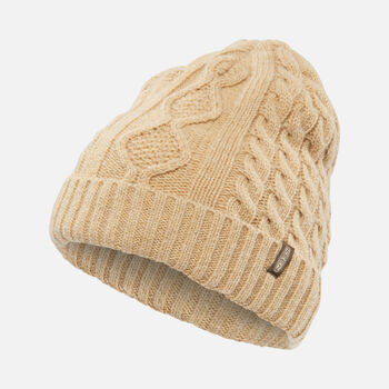 Cable Knit Beanie in Cream - large view.
