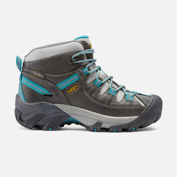 Women's Targhee II Waterproof Mid in Gargoyle/Caribbean Sea - large view.