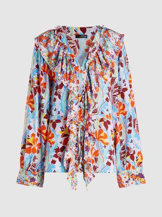 Stine Goya - Mila Floral-Print Ruffled Silk Shirt