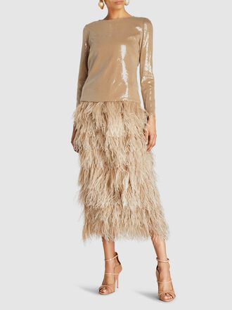Alison Brett - Ostrich Feather Trim Sequinned Top