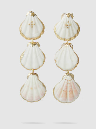 Mercedes Salazar - Pearl Tropic Three Shell Earrings