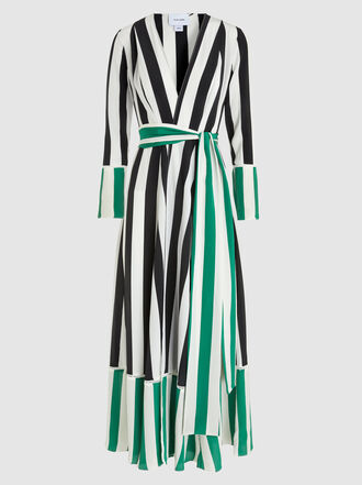We Are Leone - Striped Silk Robe