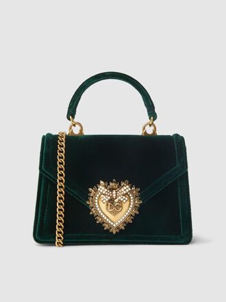 Dolce & Gabbana - Devotion Mini Embellished Velvet Top Handle Bag