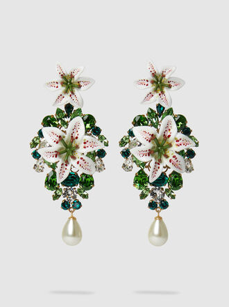 Dolce & Gabbana - Embellished Acetate Gold-Tone Clip Earrings