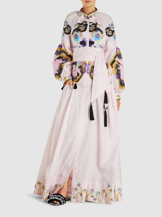 YULIYA MAGDYCH - Embroidered Cotton Kaftan Gown