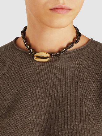 Tohum - Large Puka Khaki And Gold-Tone Brass Necklace