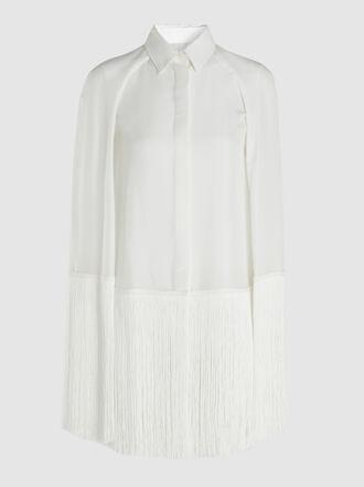 Alberta Ferretti - Fringed Silk Cape-Effect Shirt