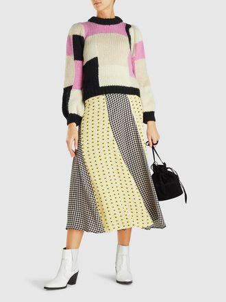 Ganni - Gingham and Floral-Print Crepe Midi Skirt