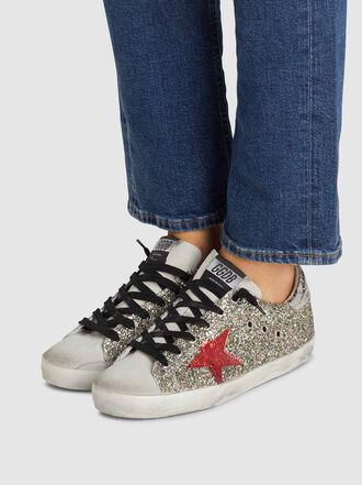 Golden Goose Deluxe Brand - Superstar Silver Glitter Pink Star Leather Sneakers