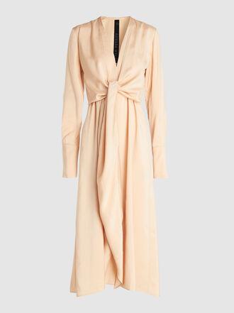 PETAR PETROV - Dedra V-Neck Bow Detail Jersey Silk-Blend Dress