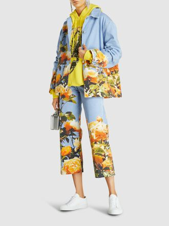 MSGM - Floral-Printed Wide-Leg Denim Pants