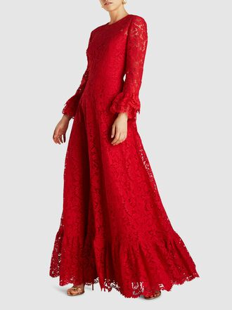 Valentino - Flared Sleeve Viscose-Cotton Blend Lace Gown