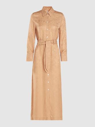 NANUSHKA - Nija Button-Up Belted Silk Jacquard Maxi Dress