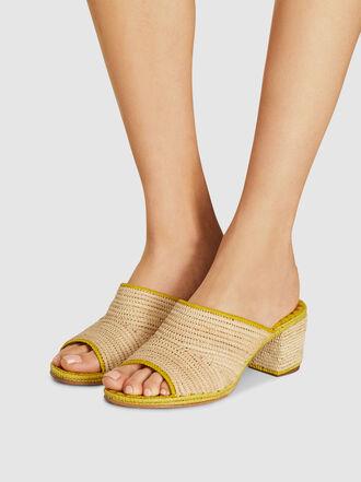 CARRIE FORBES - Rama Block Heel Raffia Sandals