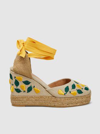 Castañer - Carina Fruit-Embroidered Wedge Heel Espadrilles