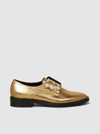 Coliac - Nina Metallic Pear-Embellished Lace Loafers