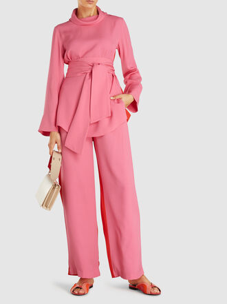 LAYEUR - Emma Two-Tone Slouch-Collar Tie-Waist Viscose-Blend Top