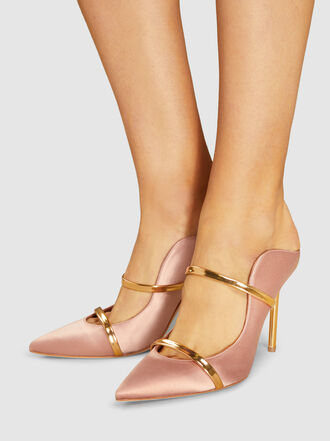 Malone Souliers - Maureen Leather-Trimmed Satin Mules