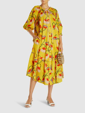 Borgo de Nor - Natalia Floral Print Cotton Midi Dress