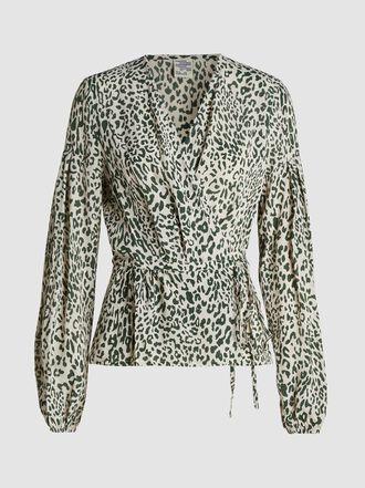 Baum und Pferdgarten - Monia Leopard-Print Crepe Wrap Blouse