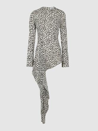 16ARLINGTON - Dalmatian Print Asymmetric Chiffon Top