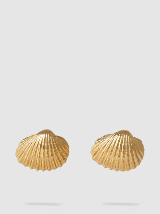 Tohum - Large Beach Shell Gold-Tone Brass Earrings