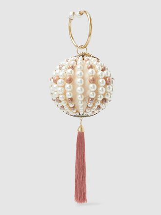 Rosantica - Pearl-Embellished Tasseled Beaded Pouch