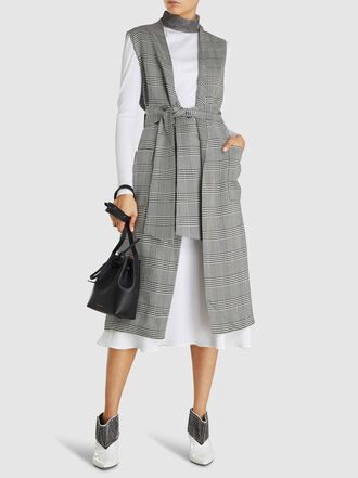 LAYEUR - Dench Collarless Tie-Waist Tartan Viscose Gilet