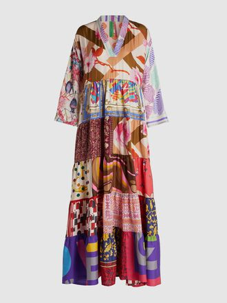 RIANNA + NINA - Vintage Tiered Silk Maxi Dress