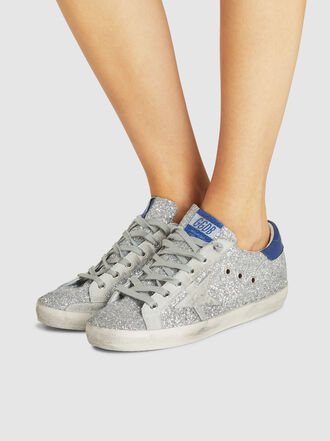 Golden Goose Deluxe Brand - Superstar Silver Glitter Navy Tab Leather Sneakers