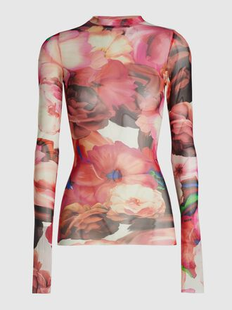 MSGM - Round Neck Floral Printed Mesh Top