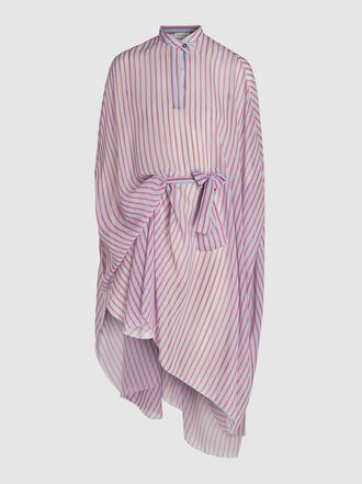DELPOZO - Striped Oversized Chiffon Shirt