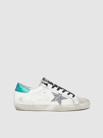 Golden Goose Deluxe Brand - Superstar Glitter Star Green Tab Leather Sneakers