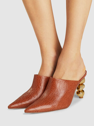 Cult Gaia - Penelope Croc-Effect Leather Mules