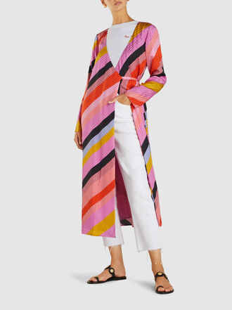 Stine Goya - Paisley Striped Silk V-Neckline Wrap Dress